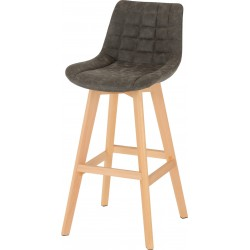 Brisbane Bar Chair (PAIR) Grey Faux Leather