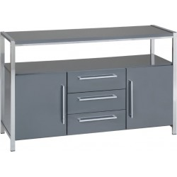 Charisma 2 Door 3 Drawer Sideboard Grey Gloss/Chrome