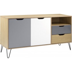 Bergen 2 Door 2 Drawer Sideboard Oak Effect/White/Grey