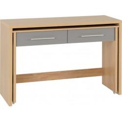 Seville 2 Drawer Slider Desk Grey High Gloss/Light Oak Effect Veneer