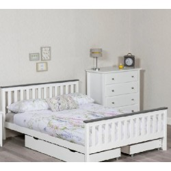 Shanghai White and Grey Wooden Bed