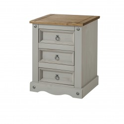 Grey Corona 3 drawer bedside cabinet