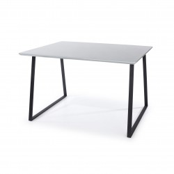 Aspen rectangular table with wooden legs, grey gloss
