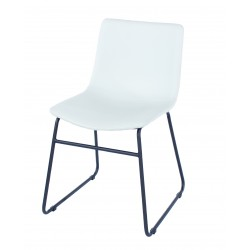 Aspen PAIR dining chair, PU grey with black metal legs