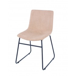 Aspen PAIR dining chair, sand fabric with black metal le
