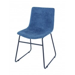 Aspen PAIR dining chair, blue fabric with black metal le