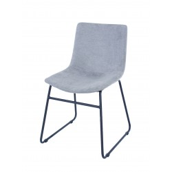 Aspen PAIR dining chair, grey fabric with black metal le