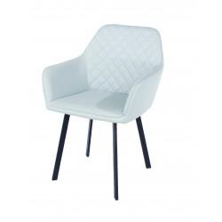PAIR armchair, PU grey with black metal legs