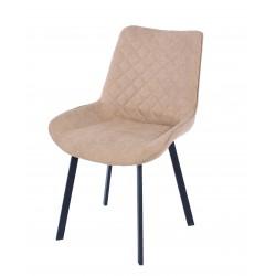 Aspen PAIR dining chair, sand fabric with black metal leg