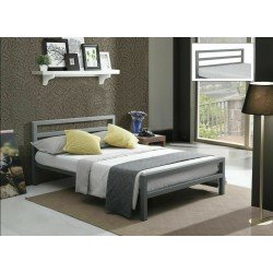 City Block Grey Metal Bed Frame