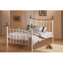 Cream Metal Bed with Brass