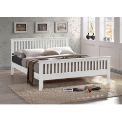 Turin White Solid Wooden Bed Frame