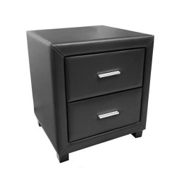 Dorset Faux Leather 2 Drawer Bedside Cabinet - Brixton Beds