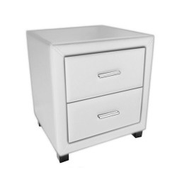 Dorset Faux Leather 2 Drawer Bedside Cabinet -Brixton Beds