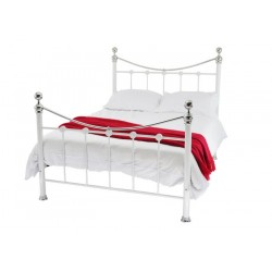 CAMBRIDGE 4'0 BED WHITE/CHROME MESH BASE