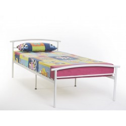 KIERAN WHITE 3'0 METAL BED FRAME (METAL SLATTED)