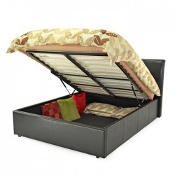 TEXAS OTTOMAN BED BROWN FAUX LEATHER - Brixton Beds