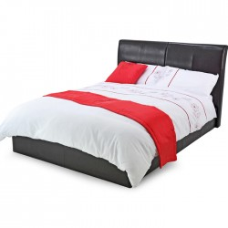 TEXAS BLACK FAUX LEATHER BED Frame Only - 4 Sizes
