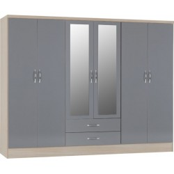 Nevada 6 door wardrobe grey
