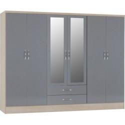 Nevada 6 door wardrobe grey