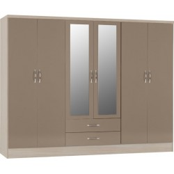 nevada 6 door wardrobe oyster gloss