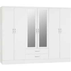 nevada 6 door wardrobe white gloss