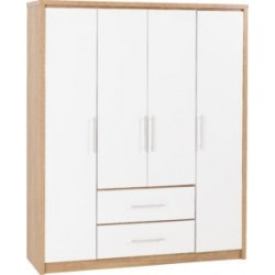 Seville 4 Door 2 Drawer Wardrobe White High Gloss Light Oak Effect Veneer