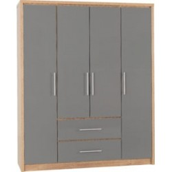 Seville 4 Door 2 Drawer Wardrobe Grey High Gloss/Light Oak Effect Veneer