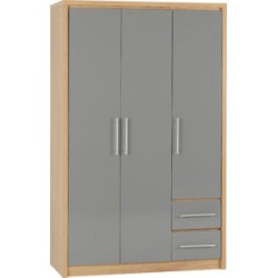 Seville 3 Door 2 Drawer Wardrobe Grey High Gloss Light Oak Effect Veneer