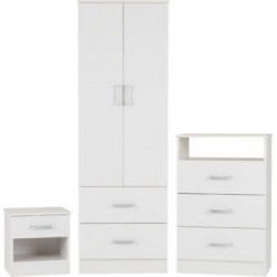 Polar Bedroom Furniture Set White - MDF Drawer Base