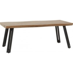 Quebec Wave Edge Coffee Table Medium Oak Effect Black With Metal Legs