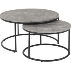 Athens Round Coffee Table Set Concrete Effect With Black Plastic Feet
