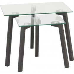 Abbey Nest of Tables Clear Glass Top With Grey Metal Legs