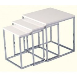 Charisma Nest Of Tables White Gloss With Chrome Metal Legs