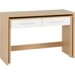 Seville 2 Drawer Slider Desk White High Gloss/Light Oak Effect Veneer