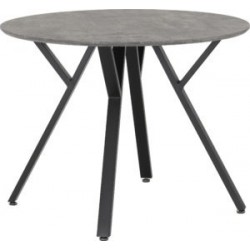 Athens Round Dining Table Concrete Effect Black Metal Legs