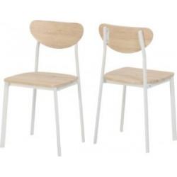 Riley Chair Light Oak Effect Veneer With White Metal Legs