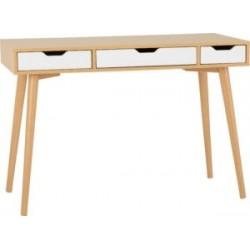 Seville 3 Drawer Console Table White Gloss Light Oak Effect Veneer