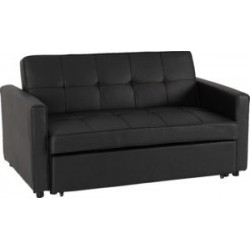 Astoria Sofa Bed Black Faux Leather With Plastic Feet