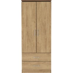 Charles 2 Door 2 Drawer Wardrobe Oak Effect Veneer