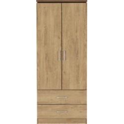 Charles 2 Door 2 Drawer Wardrobe Oak Effect Veneer