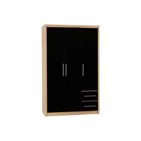 Seville 3 Door 2 Drawer Wardrobe Black High Gloss/Light Oak Effect Veneer