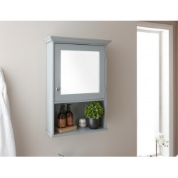 Colonial Mirrored Cabinet Bathroom Storage In Grey