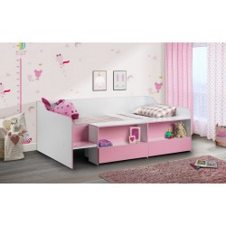 Stella Low Sleeper Matt White and Pink Coating With Melamine Edging