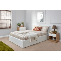 End Lift Ottoman (4ft 6inch-135cm) Bed Frame White Storage Bedsteads In Double Size
