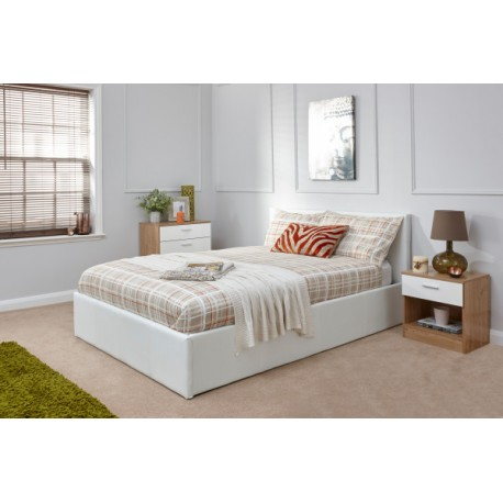 End Lift Ottoman (5ft-150cm) Bed Frame White Storage Bedsteads In King Size