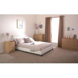 Bed In A Box Faux Leather (4ft-120cm) Small Double Bed Frame In White