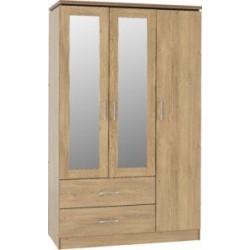 Charles 3 Door 2 Drawer Mirrored Wardrobe Oak Effect Veneer With Walnut Trim