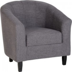 Tempo Tub Chair Grey Fabric With Wooden Feet