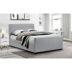 Capri Fabric (4ft 6inch-135cm) Double Bed Frame With 2 Drawers Light Grey Linen
